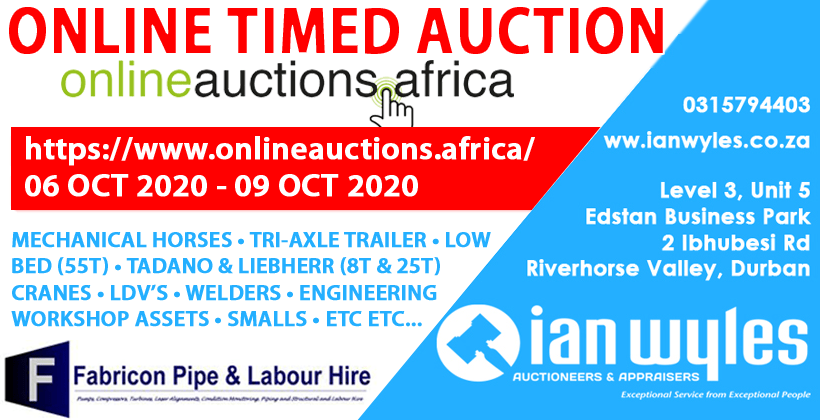 ONLINE TIMED AUCTION - FABRICON HOLDINGS STARTING 6-10-20 @ 6AM AND ENDING 9-10-20 @ 3PM